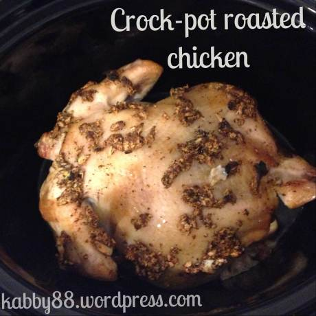 Chicken into the crockpot!